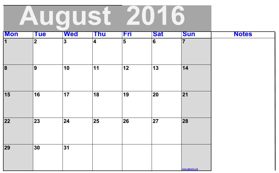 Clipart august 2016 calendar graphic royalty free library August 2016 Calendar Printable - free | 2016 Blank Calendar ... graphic royalty free library
