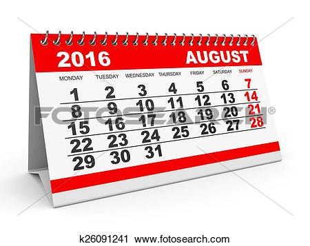 Clipart august 2016 calendar clip art black and white library Clipart of Calendar August 2016. k26091241 - Search Clip Art ... clip art black and white library