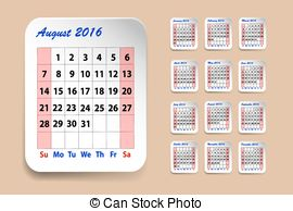 Clipart august 2016 calendar vector library library Vector Clipart of Monthly calendar for August 2016 on metallic ... vector library library