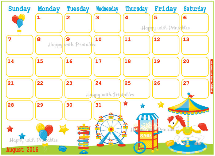 Clipart august 2016 calendar banner royalty free download August 2016 Calendar For Kids | monthly calendar printable banner royalty free download