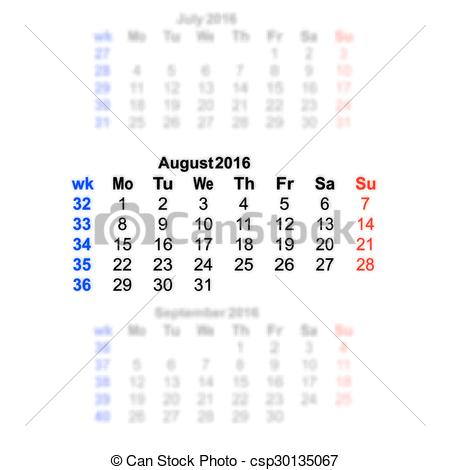 Clipart august 2016 calendar clipart library library Clip Art Vector of August 2016 Calendar week starts on Monday ... clipart library library