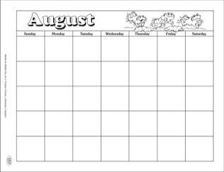 Clipart august calendar clip art black and white stock August Calendar and Clip Art - Scholastic Printables clip art black and white stock
