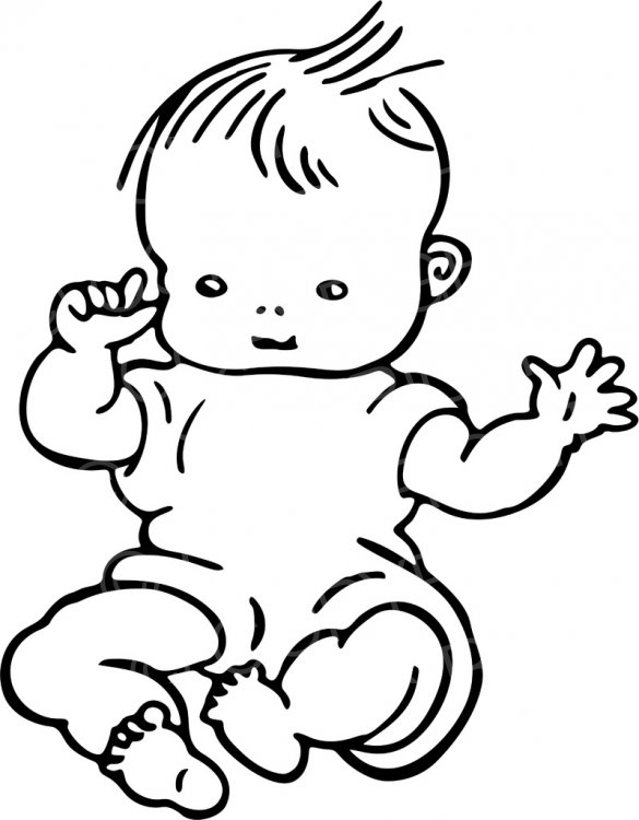 Black baby playing with white baby clipart stock Black & White Line Drawing of a Cute Baby Prawny Clip Art – Prawny ... stock