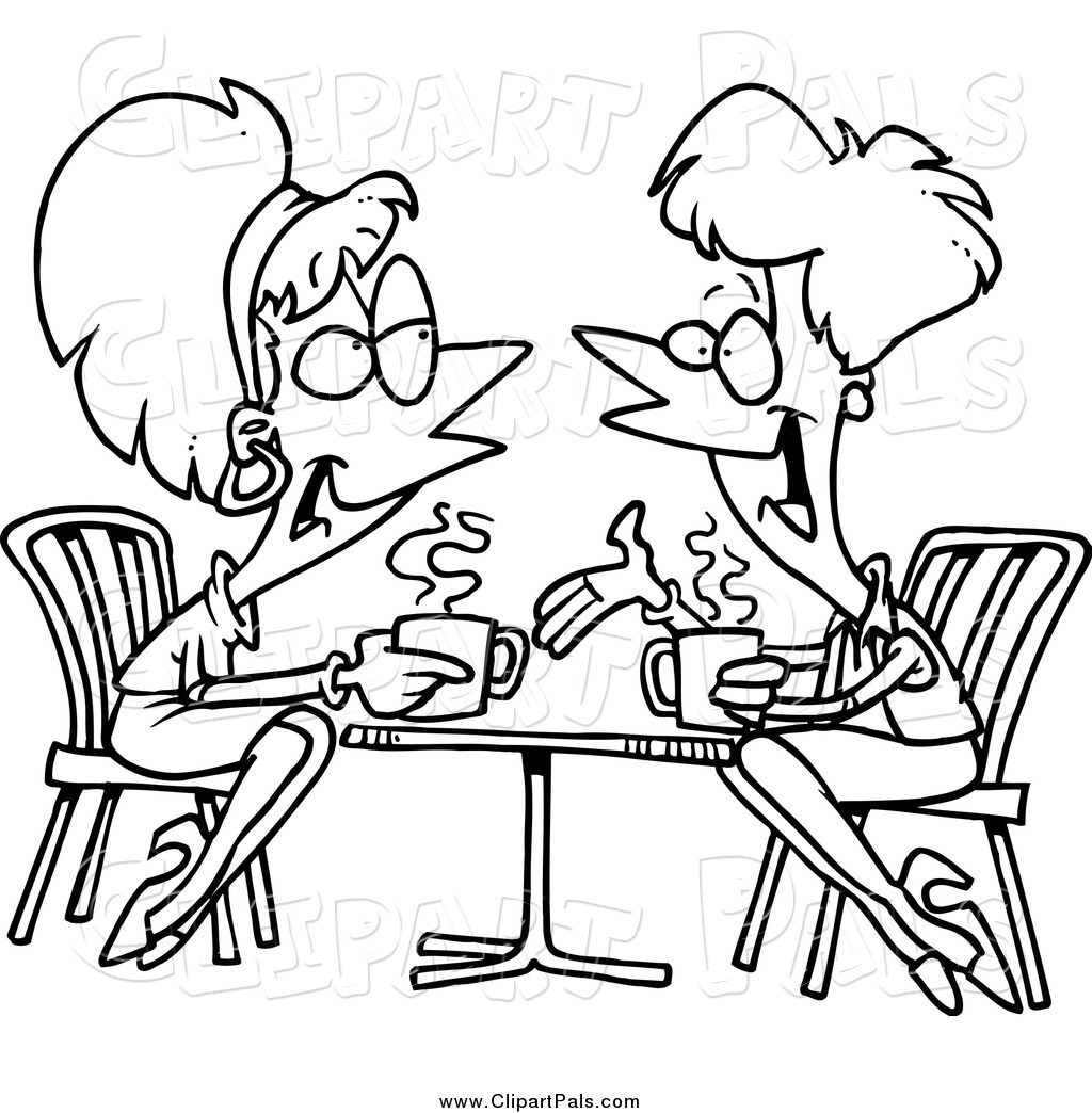 Clipart baby black and white talking black and white download A Black And White Cartoon Of Two Kids Talking Baby Talk While - 272 ... black and white download