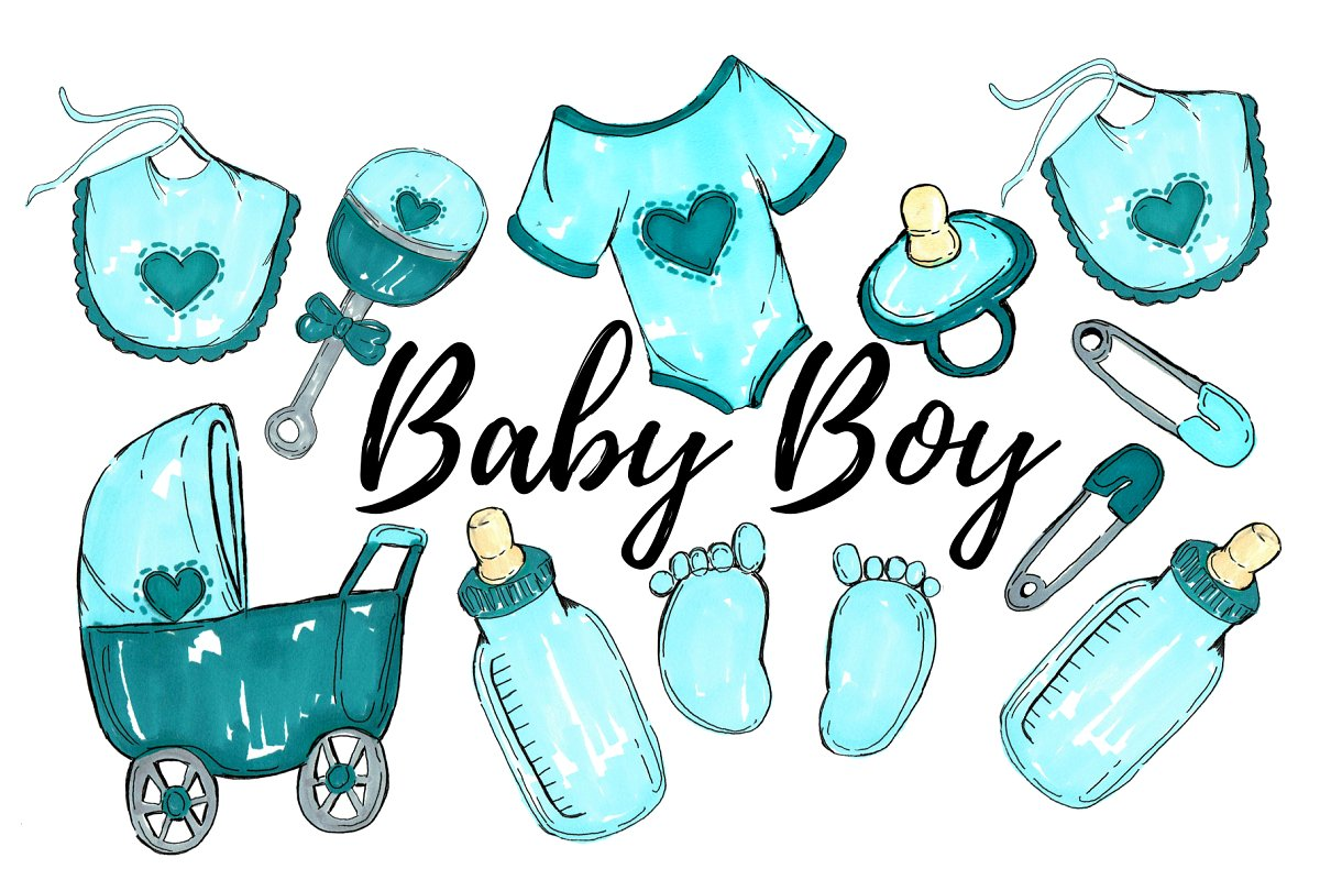 Clipart baby boy png free download Watercolor Baby Boy Clipart png free download