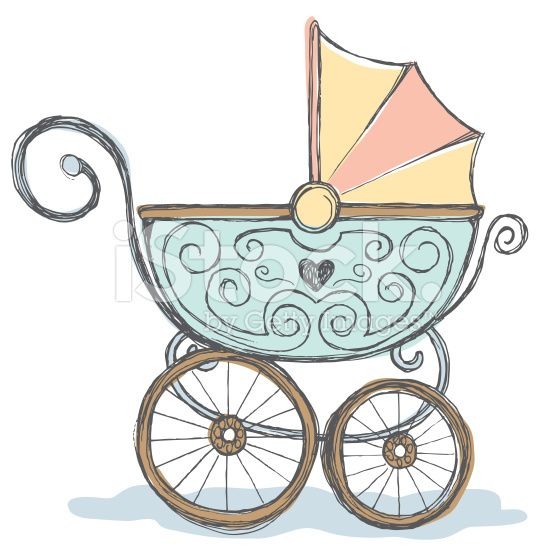 Vintage baby rattle clipart clip art free Hand drawn pen and ink color rendering of baby stroller. | Baby ... clip art free