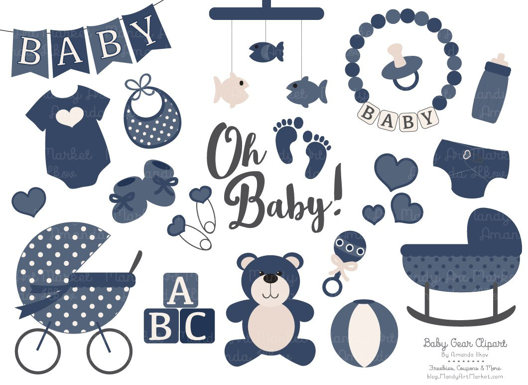 Clipart baby equipment clipart free library Vector Baby Clipart in Navy clipart free library