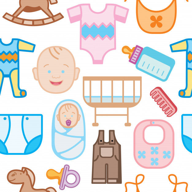 Clipart baby equipment png royalty free stock Baby equipment seamless pattern Vector | Premium Download png royalty free stock