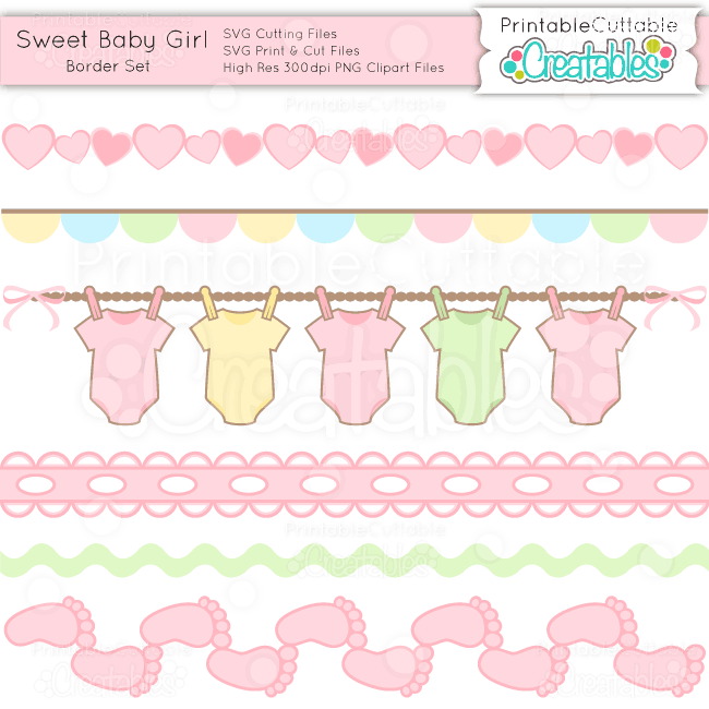 Clipart baby girl borders clip royalty free Sweet Baby Girl Borders Set - SVG Cuts & Clipart clip royalty free