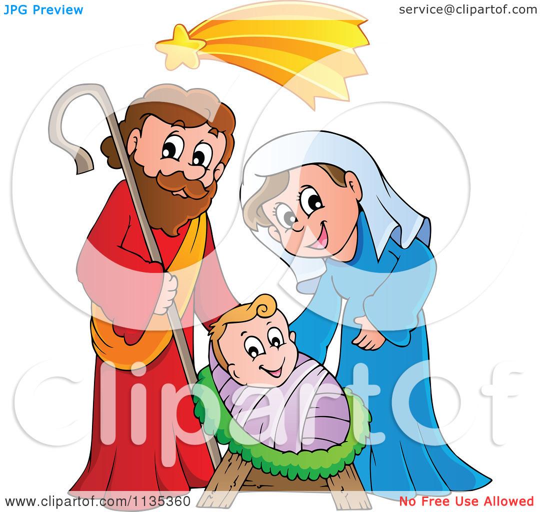 Cartoon of a virgin. Clipart baby jesus mary joseph