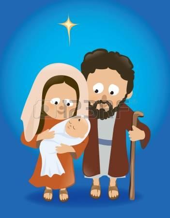 Clipart baby jesus mary joseph.  stock vector illustration