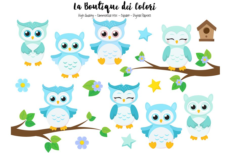 Woodland grey baby owl clipart image library Cute Blue Baby Owls Clipart image library