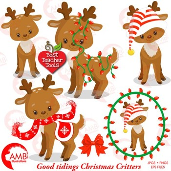 Clipart baby reindeer picture freeuse download Christmas Clipart, Baby Reindeer Clipart, Forest Critters, AMB-1558 picture freeuse download