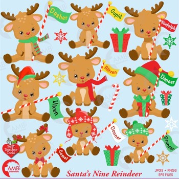 Cute reindeer clipart png library download Christmas Clipart, Santa\'s Reindeer Clipart, Cute Baby Baby Reindeer,  AMB-2291 png library download