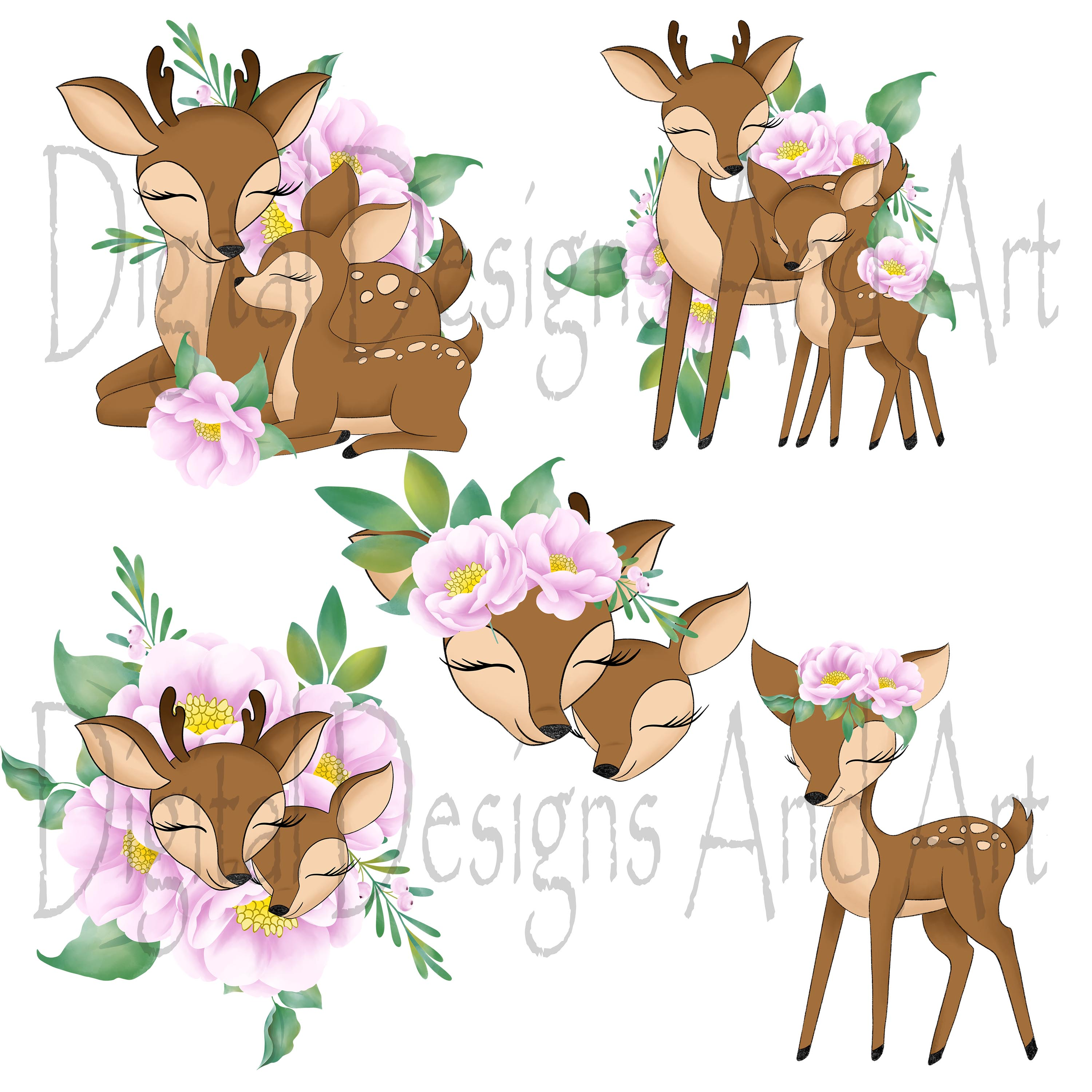 Clipart baby reindeer clip library Baby and mama deer clipart clip library