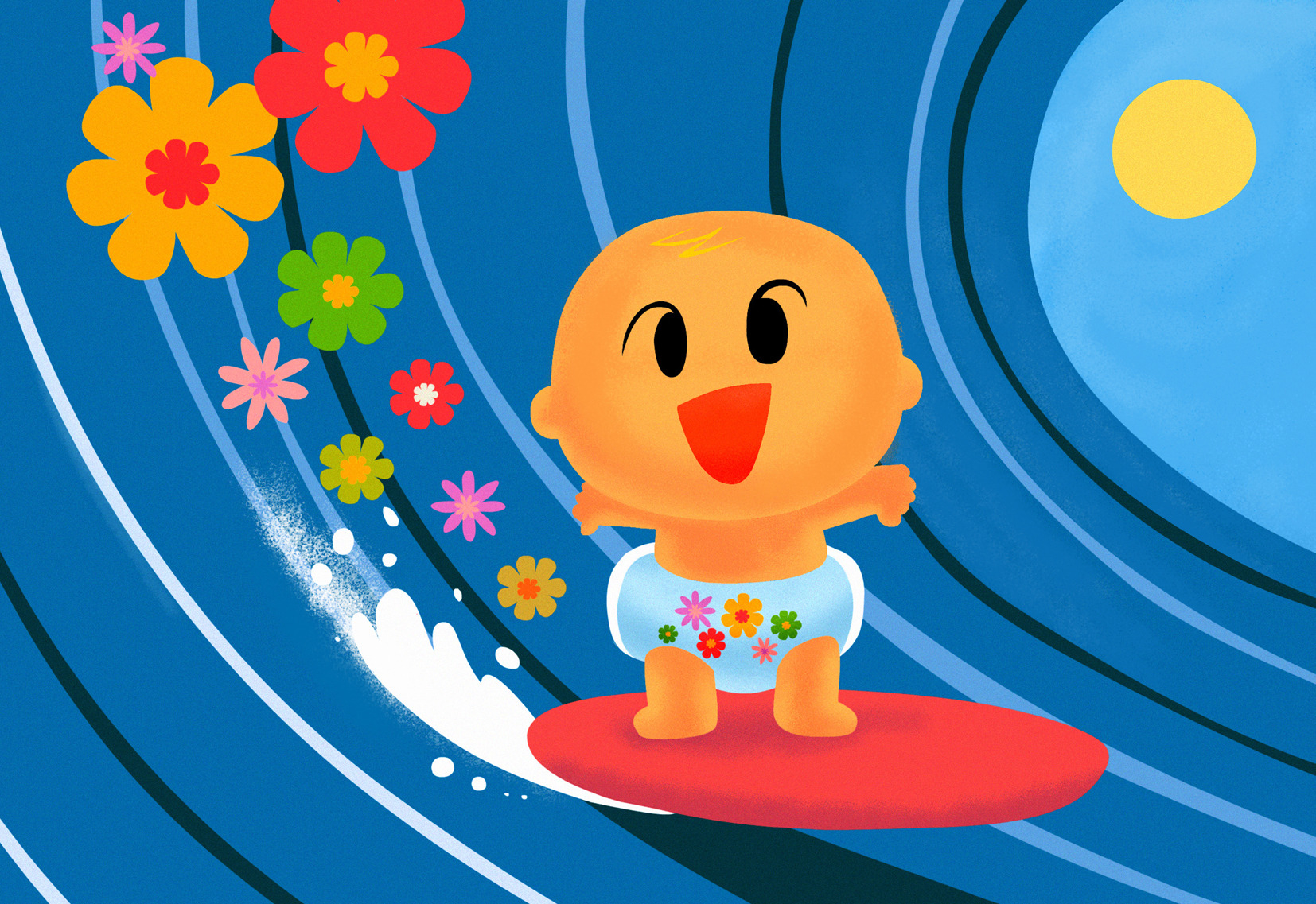 Clipart babys surfing png royalty free library Surfing Baby - El Señor Studio - Debut Art png royalty free library