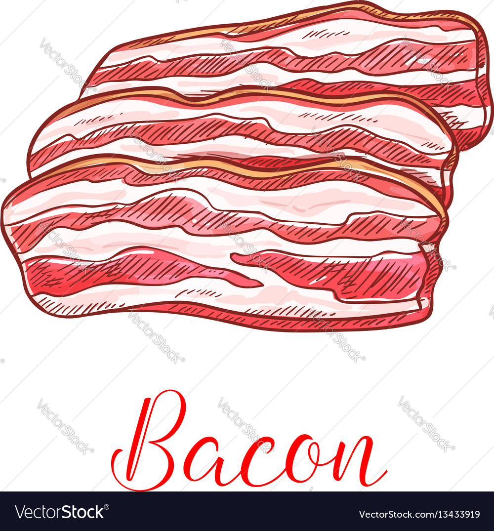 Clipart bacon strips picture royalty free Bacon strip isolated sketch with pork meat slice picture royalty free