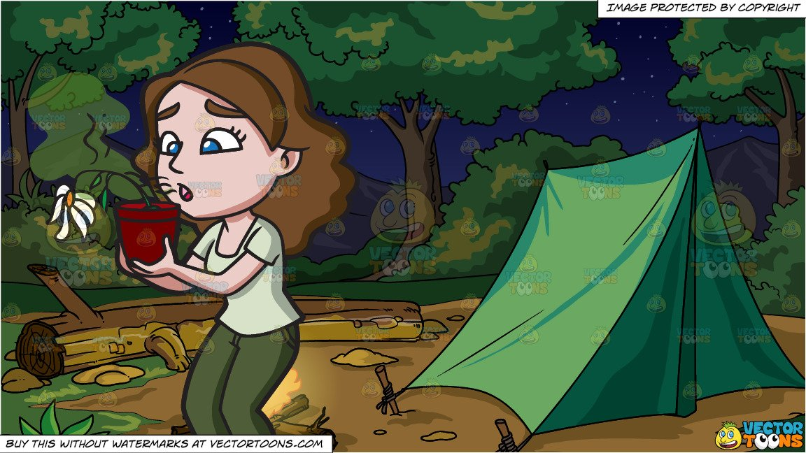 Clipart bad camp svg transparent A Woman With Bad Breath Makes A Flower Wither and A Camp Site With Camp  Fire At Night Background svg transparent