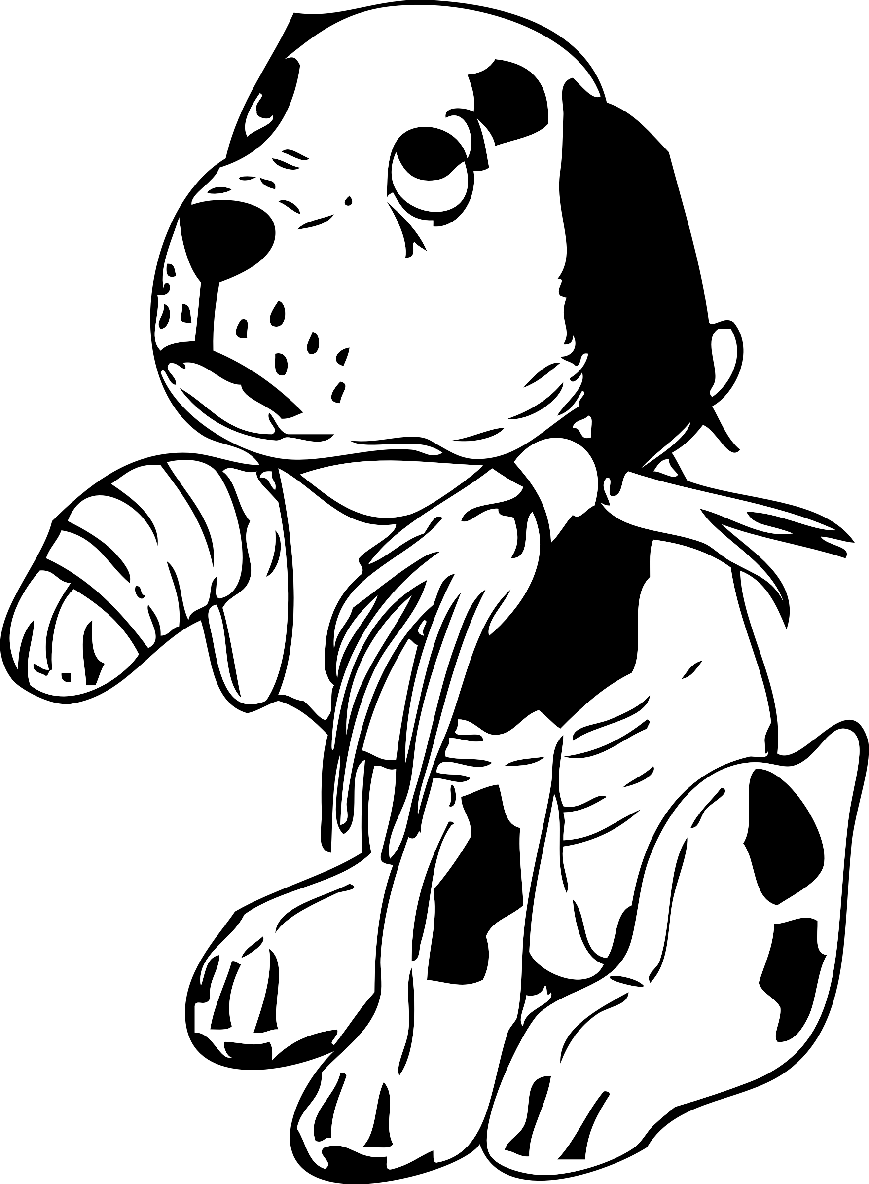 Clipart - sad dog with a broken leg royalty free