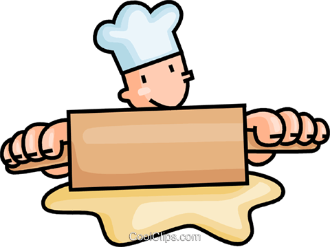 Clipart baker with dough free baker rolling dough Royalty Free Vector Clip Art illustration ... free