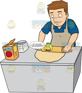 Clipart baker with dough graphic freeuse library A Man Flattening A Dough With A Rolling Pin graphic freeuse library