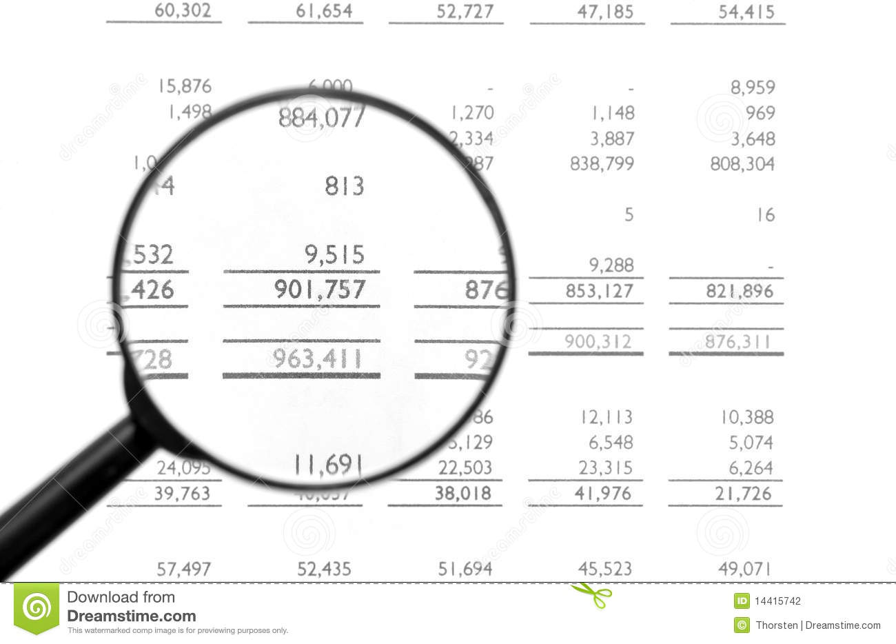Clipart balance sheet image black and white stock Magnifying Glass On Financial Balance Sheet Stock Photography ... image black and white stock