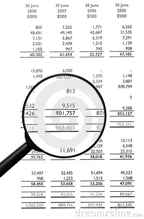 Clipart balance sheet graphic black and white stock Magnifying Glass On Financial Balance Sheet Stock Photography ... graphic black and white stock