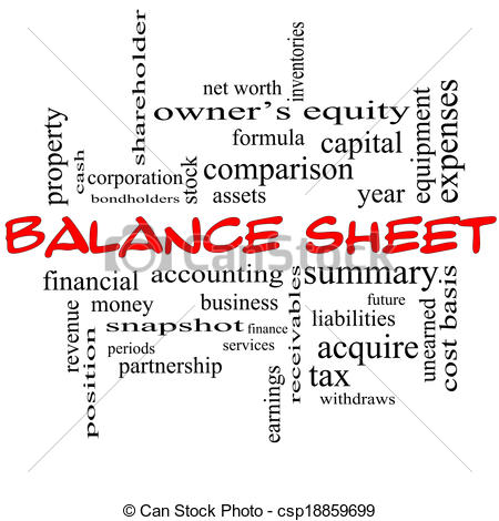 Clipart balance sheet svg free stock Stock Illustration of Balance Sheet Word Cloud Concept in red caps ... svg free stock