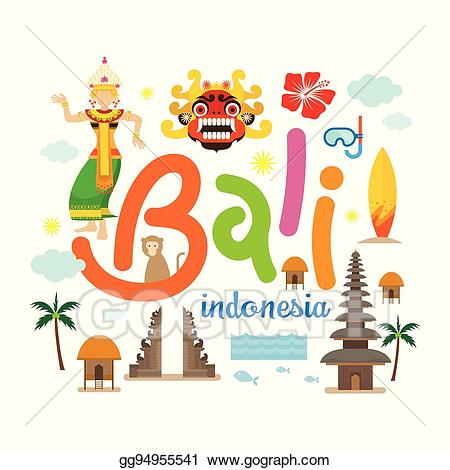 Clipart bali banner black and white download Vector Illustration - Bali, indonesia travel and attraction. EPS ... banner black and white download
