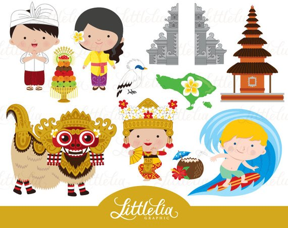 Clipart bali jpg black and white Bali clipart - Paradise Island clipart - 16032 | Products | Clip art ... jpg black and white