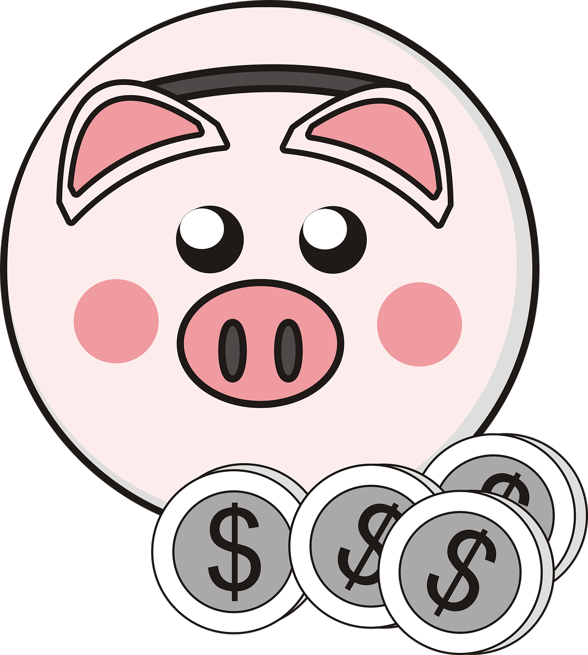 Clipart of bank freeuse stock Piggy Bank 4 Coins Clipart transparent PNG - StickPNG freeuse stock