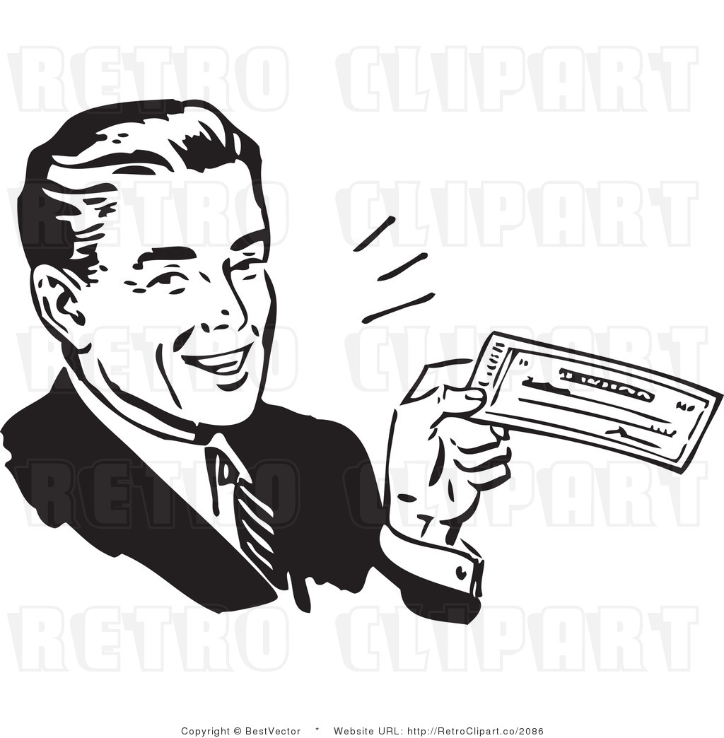Clipart bank check banner transparent library Retro Clip Art of an Excited Businessman Looking at His Large ... banner transparent library