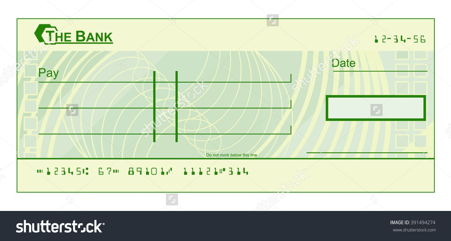 Template cheque blank stock. Clipart bank check