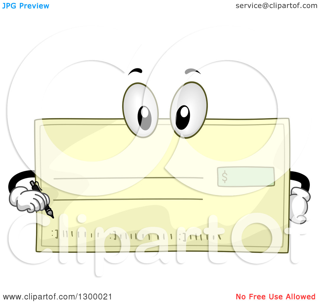Clipart bank check. Of a cartoon character