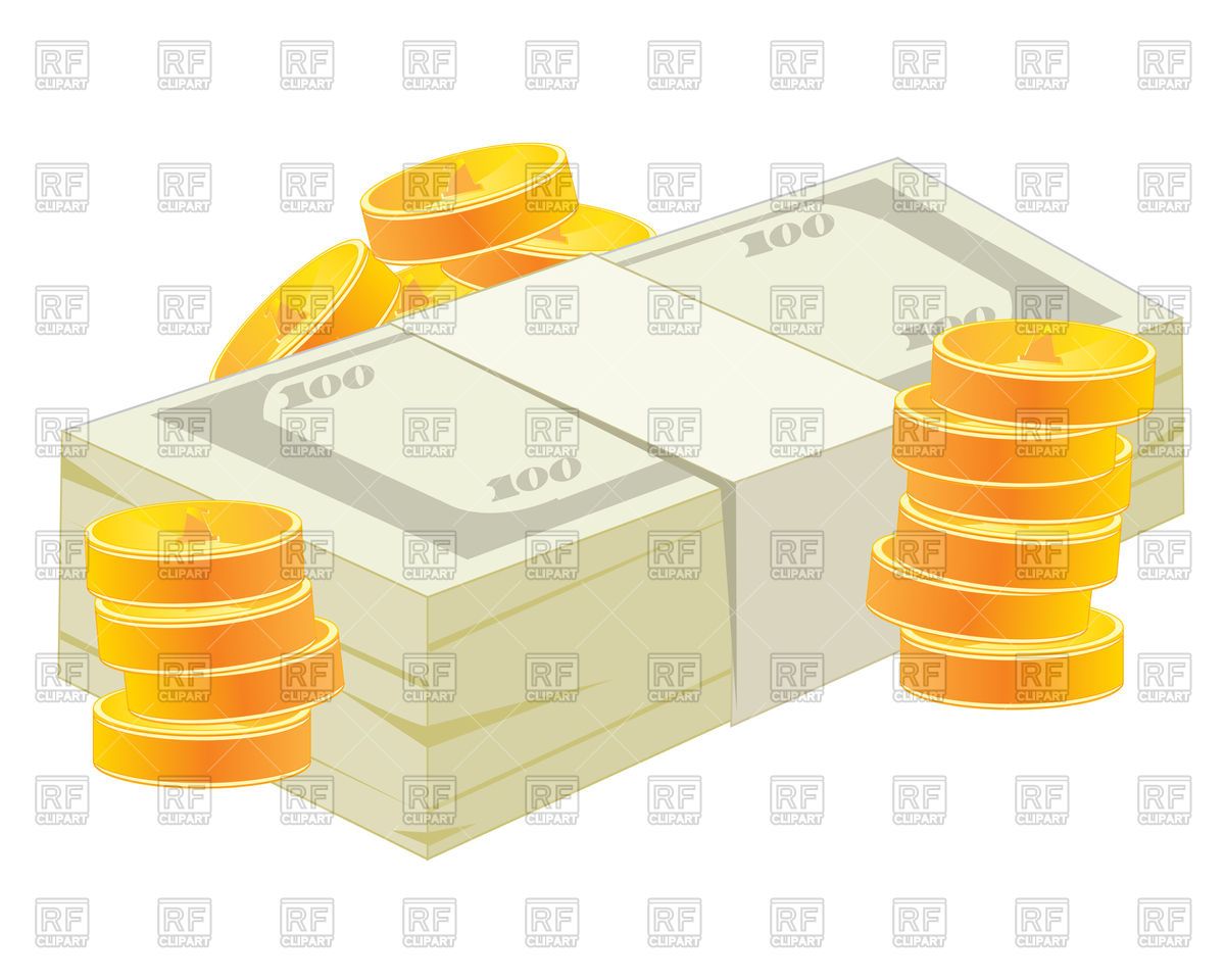 Clipart bank notes jpg download Pack of banknotes and pile of coins - money Vector Image #91656 ... jpg download