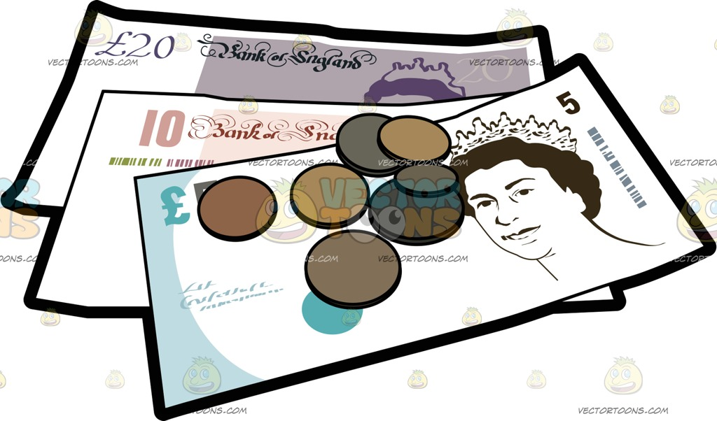 Clipart bank notes jpg royalty free stock Brit Pound Bank Notes And Coins Cartoon Clipart jpg royalty free stock