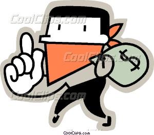 Clipart bank robber. Vector clip art