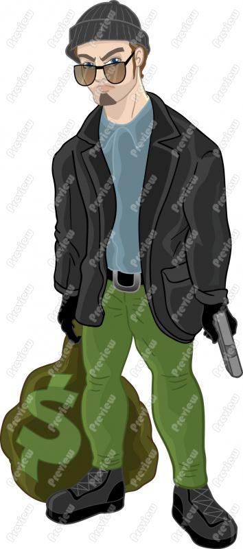 Clip art cartoon. Clipart bank robber