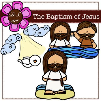 Clipart on jesus and john the baptist image freeuse stock The Baptism od Jesus Digital Clipart (color and black&white) | Clip ... image freeuse stock