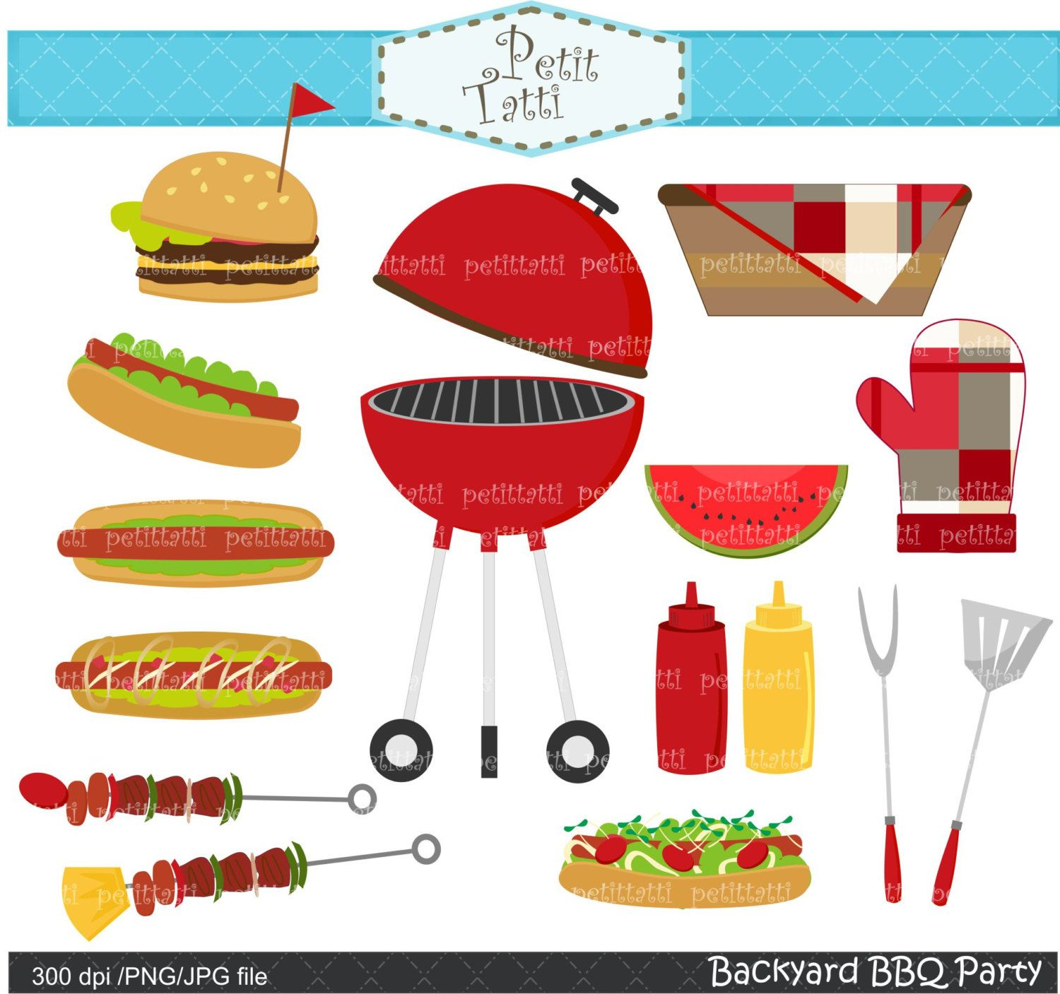 Clipart barbecue party clip royalty free download BBQ clip art - summer Bbq Party Digital clip art, Backyard barbecue ... clip royalty free download