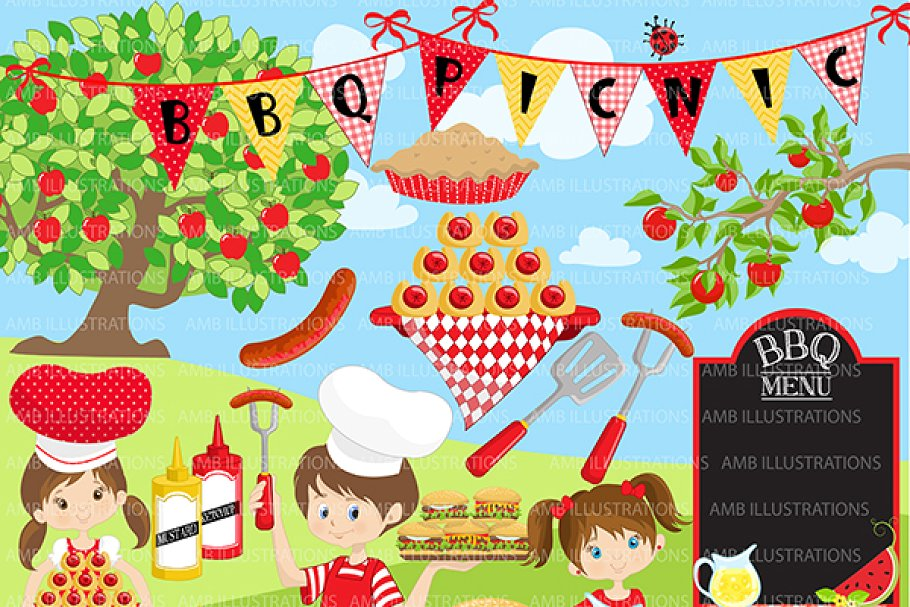 Picnic scene clipart library BBQ Party, Picnic, Clipart AMB-910 library