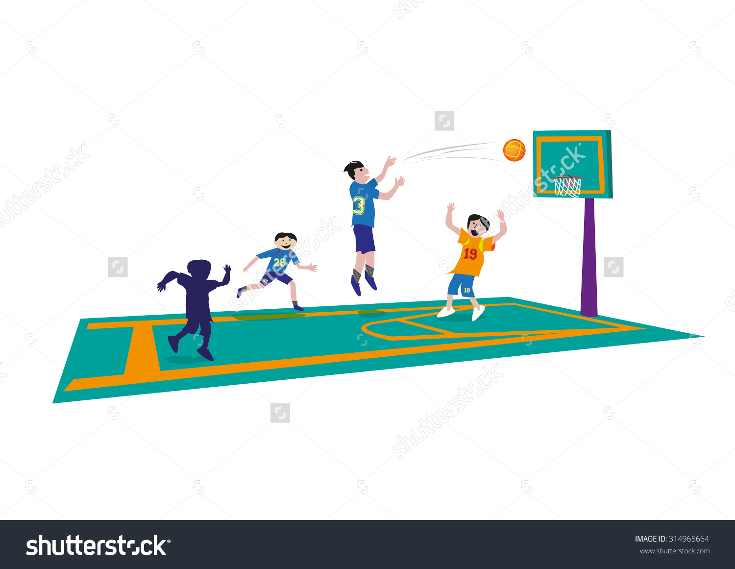Clipart basketball game clipart image black and white download Basketball Game Concept Editable Clip Art Stock Vector 314965664 ... image black and white download