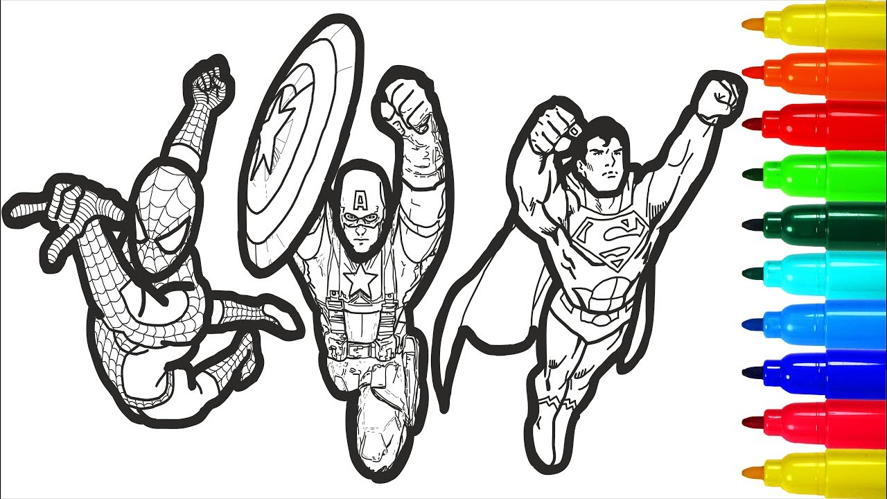 Clipart batman spiderman and captsin america black and white png library Spiderman Iron Man Superman Captain America Wolverine Batman Coloring |  Colouring Pages for Kids png library
