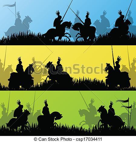 Clipart battlefield vector library download Vector Clip Art of Medieval knight horseman silhouettes riding in ... vector library download