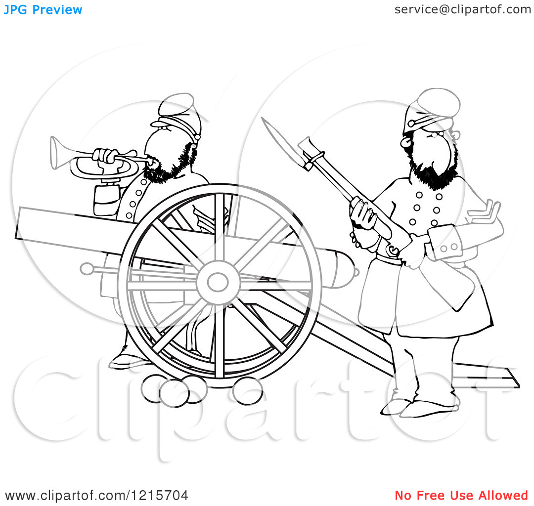 Clipart battlefield picture transparent library Clipart of Outlined Civil War Soldiers Holding a Rifle and Playing ... picture transparent library