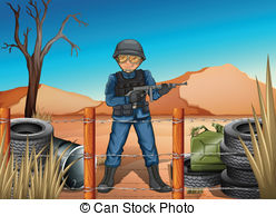 Vector of a brave. Clipart battlefield