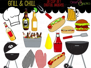 Clipart bbq party clipart royalty free download Backyard BBQ Party Digital Clip Art Printable Clipart | Meylah clipart royalty free download