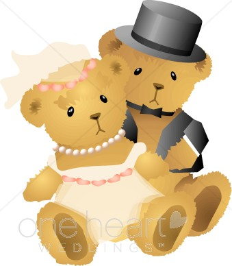 Clipart bears couples image transparent stock Teddy Bear Bridal Couple | Teddy Bear Wedding Clipart image transparent stock