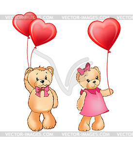 Clipart bears couples picture download Teddy Bear Couple and Balloons - vector clipart picture download
