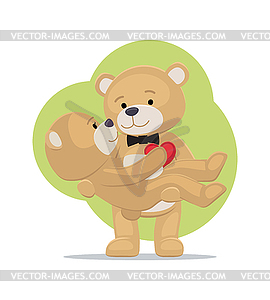 Clipart bears couples png free download Teddy Bears Couple, Female in Paws of Lovely Male - vector EPS clipart png free download